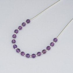 Amethyst and Silver 4mm Bead Necklace