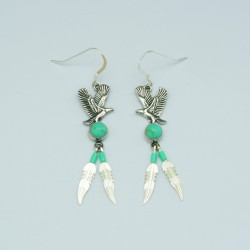 Flybird Turquoise and Silver Earrings