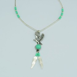 Flybird Turquoise and Silver Necklace