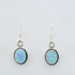 Blue synthetic opal earrings