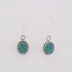 Green Synthetic Opal & Silver Earrings
