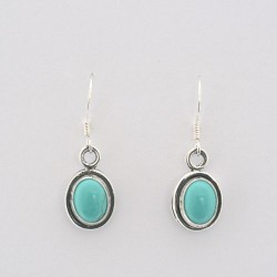 Turquoise and Silver Oval Earrings