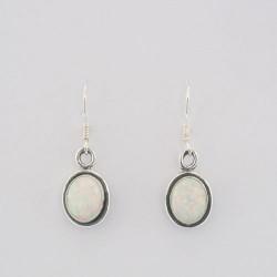 White synthetic opal earrings