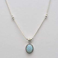 Blue synthetic opal necklace