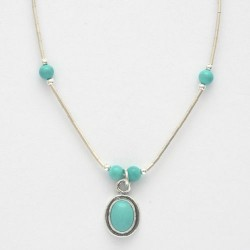Turquoise and Silver Necklace with Oval Pendant