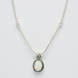 White synthetic opal necklace