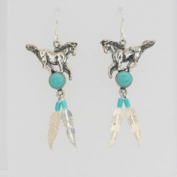 Turquoise & Silver Feather Horse Earrings