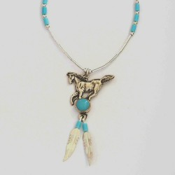 Turquoise & Silver Feather Horse Necklace