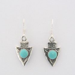 Turquoise and Silver Arrowhead Earrings