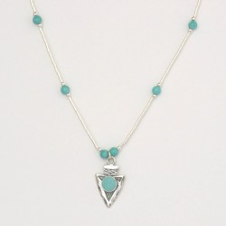 Turquoise and Silver Arrowhead Necklace