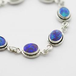 Green Synthetic Opal Link Bracelet