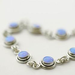 Blue Synthetic Opal Link Bracelet