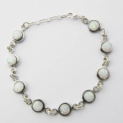 White Synthetic Opal Link Bracelet