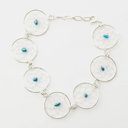 Turquoise Nugget & Silver Dreamcatcher Link Bracelet