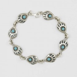 Turquoise and Silver Bear Paw Bracelet