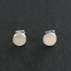 Moonstone & Silver Round Stud Earrings 6mm