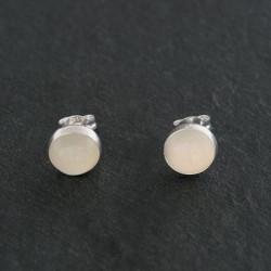 Moonstone & Silver Round Stud Earrings 6mm