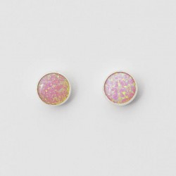 Pink Synthetic Opal & Silver Stud Earrings 8mm round