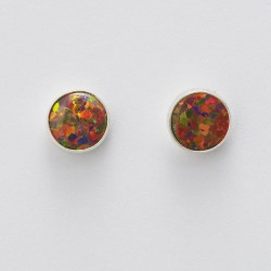 Red Synthetic Opal & Silver Stud Earrings 8mm round