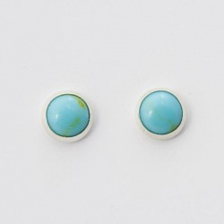 Turquoise & Silver Stud Earrings 8mm round
