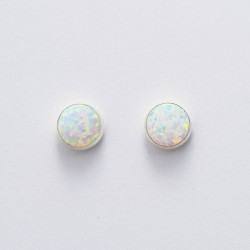 White Synthetic Opal & Silver Stud Earrings 8mm round