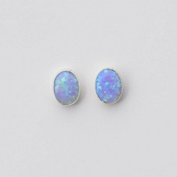 Blue Synthetic Opal & Silver Stud Earrings Oval