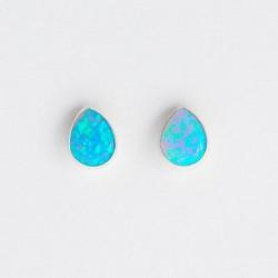 Blue Synthetic Opal & Silver Stud Earrings Teardrop