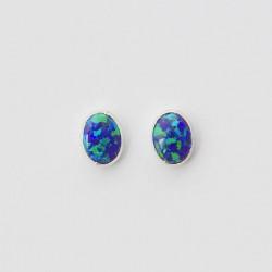 Green Synthetic Opal & Silver Stud Earrings Oval