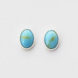 Turquoise & Silver Stud Earrings Oval