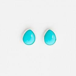 Turquoise & Silver Stud Earrings Teardrop