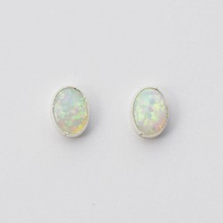 White Synthetic Opal & Silver Stud Earrings Oval