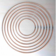 """12"""" -  3"""" Metal Flower Craft Hoops Macrame Rings Copper Coated 8 Pk mixed sizes"""
